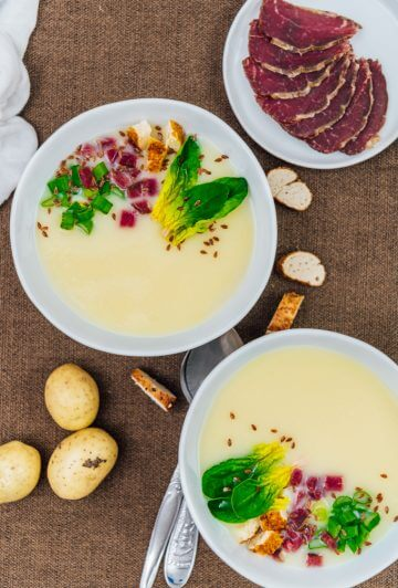 This easy Cream of Potato Soup warms your heart perfectly on chilly days. Simple yet flavourful and comforting. Super creamy without cream, so it's lighter and healthier.