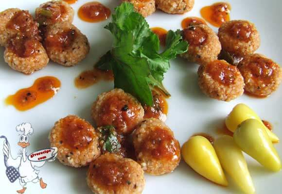 Tiny Bulgur Balls with Garlicky Tomato Sauce