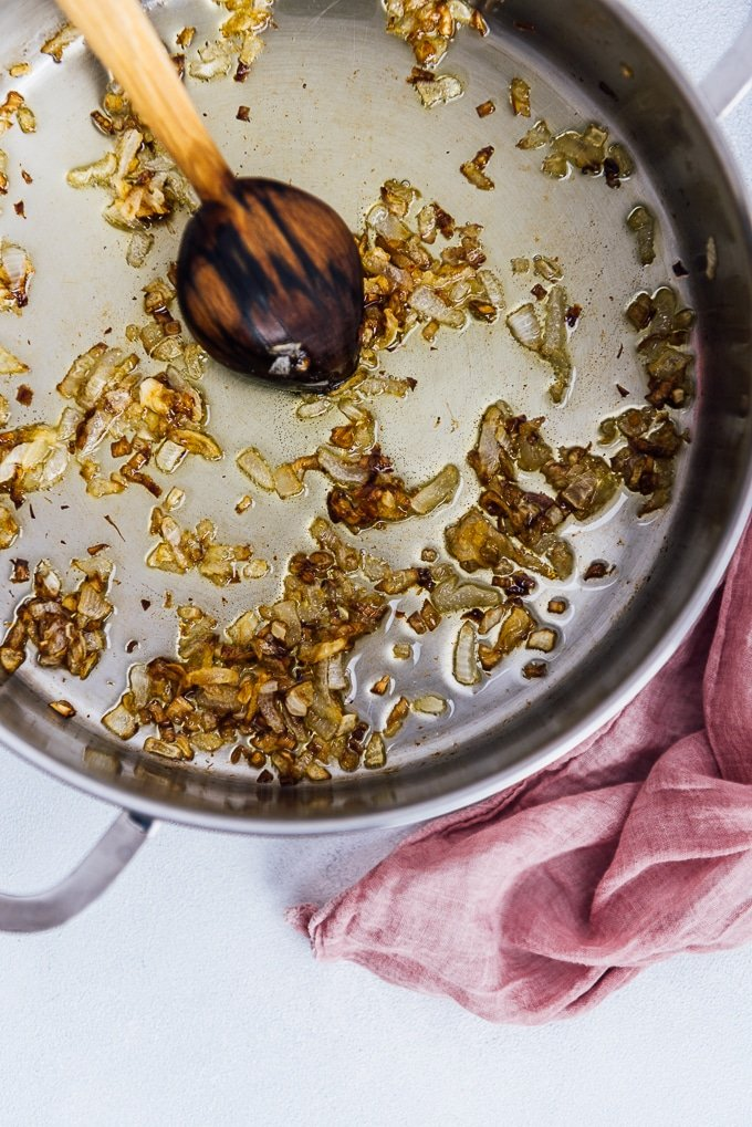 Cooking onions in a pan