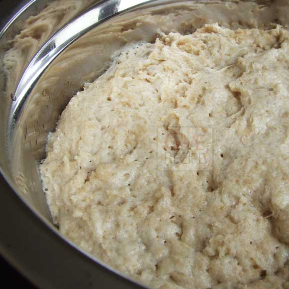 Pide dough with yeast rising in a bowl