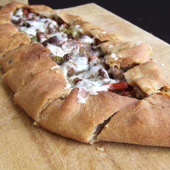 Sliced pide stuffed with beef