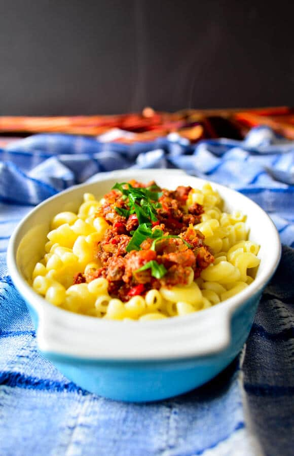 Pasta with Mince Sauce is an easy dinner recipe with seasoned ground beef. A family favorite weeknight meal.