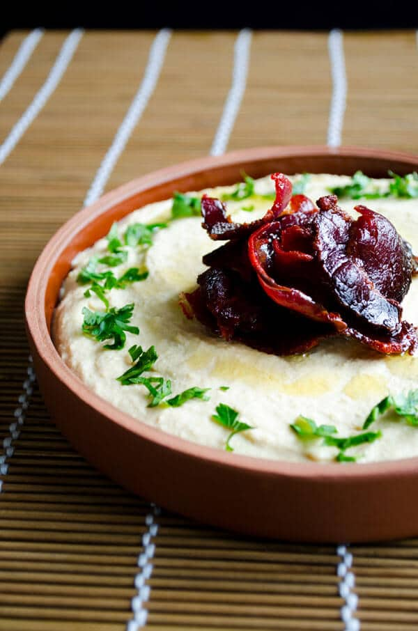Hummus with Pastirma or Bacon