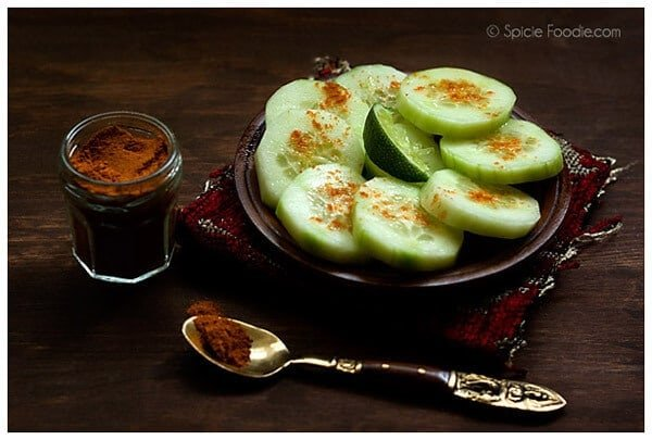 Mexican Cucumber snack with chile and lime