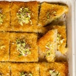 Golden and crispy kadaif slices topped with crumbled pistachios.