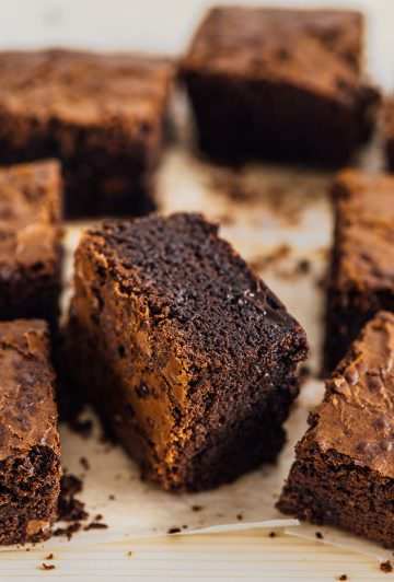 These Double Chocolate Brownies are for true chocolate lovers as they are loaded with chocolate. Crunchy on the top and super fudgy on the inside, these brownies are out of this world!