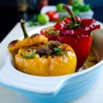 Bell Peppers Stuffed with Spelt and Lamb | #bellpeppers #stuffed #spelt #lamb #turkish | giverecipe.com @zerringunaydin
