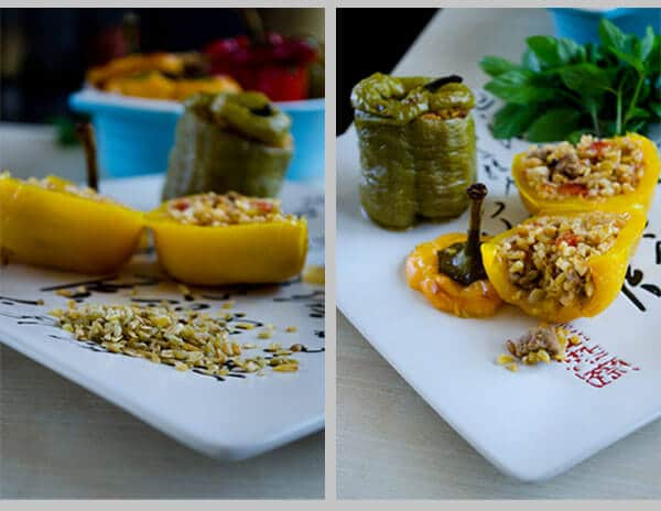 Bell Peppers Stuffed with Freekeh and Lamb  | #bellpeppers #stuffed #freekeh#lamb #turkish | giverecipe.com @zerringunaydin