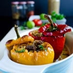 Bell Peppers Stuffed with Freekeh and Lamb thumbnail
