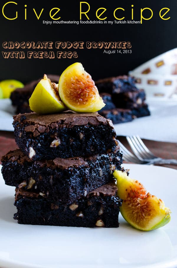 Chocolate Fudge Brownies with Figs | #chocolate #brownies #figs #dessert