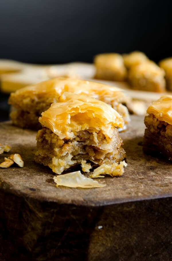 Homemade baklava with homemade baklava leaves