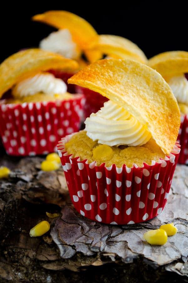 Savory Sweet Corn Cupcakes | #corn #cupcakes #savory #sweetcorn #cornchips #strainedyogurt #greekyogurt | giverecipe.com