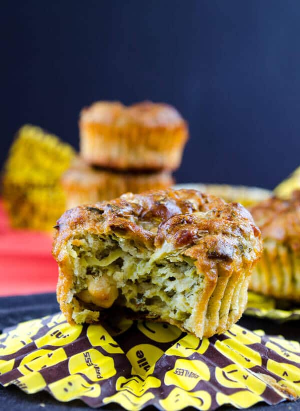 Whole Wheat Cheese and Zucchini Muffins | #muffins #zucchini #savory #feta #snack | giverecipe.com