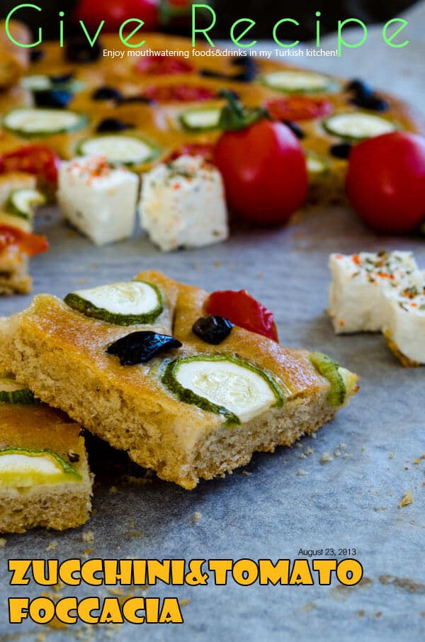 Zucchini and Tomato Focaccia Bread | #bread #focaccia #baking #wholewheat | giverecipe.com | @zerringunaydin