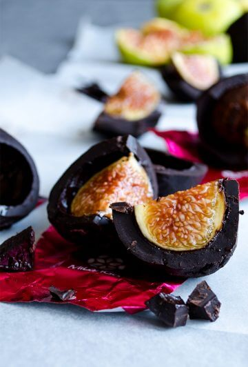 Sliced chocolate covered figs