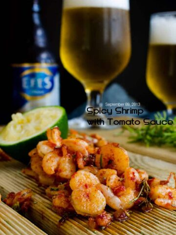 Spicy Shrimp with Tomato Sauce | giverecipe.com | #shrimp #beer #appetizer #sauce #seafood