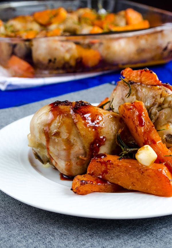 Roasted Chicken Drumsticks with Pumpkin | giverecipe.com | #chicken #drumsticks #pumpkin #chickendrumsticks #pomegranatemolasses