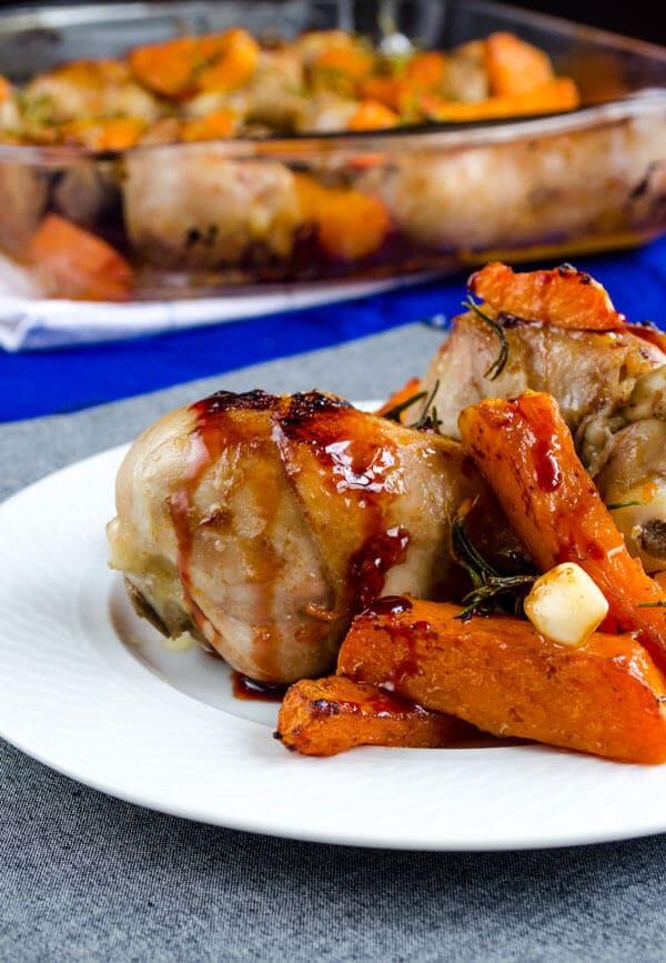 Baked pumpkin and chicken legs
