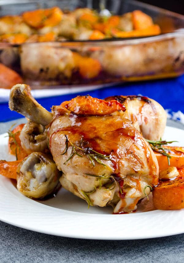 roasted pumpkin and chicken legs