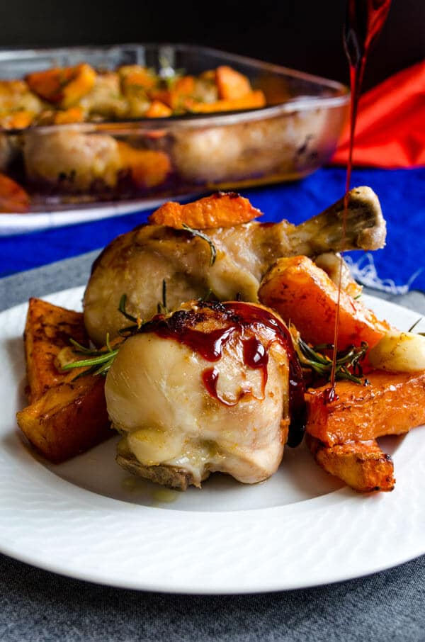 chicken drumsticks and pumpkin in oven
