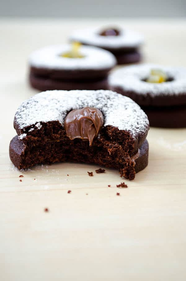 Chocolate sandwich cookies with nutella and lemon jam | giverecipe.com | #cookies #chocolate #nutella #lemonjam