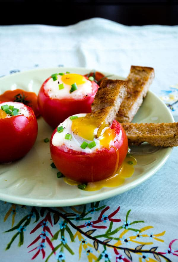Egg Stuffed Tomatoes | giverecipe.com | #egg #tomatoes