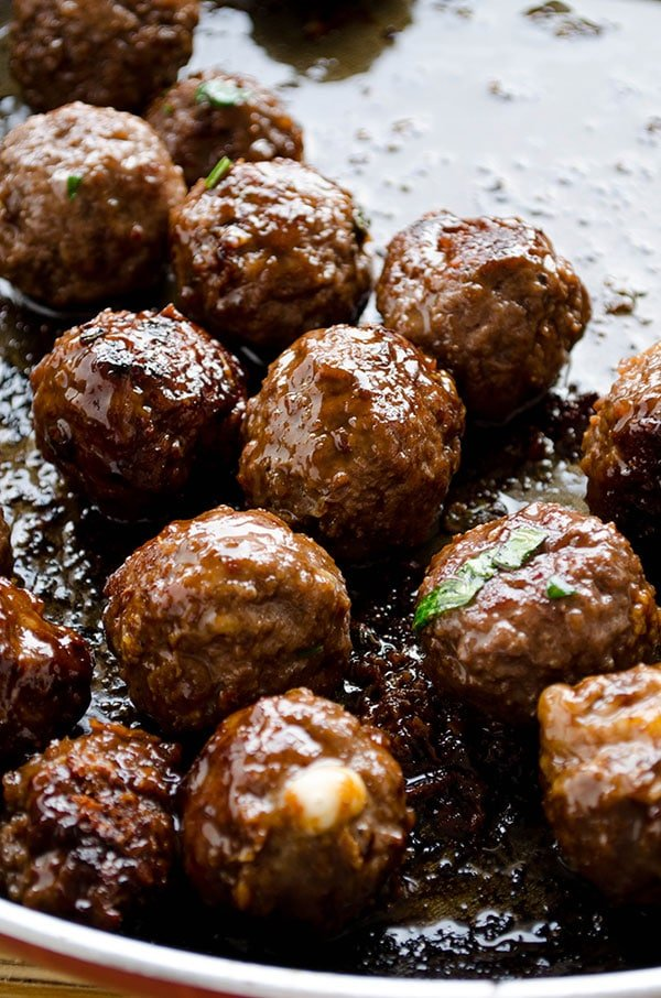 Cheese stuffed meatballs coated with honey and pomegranate molasses4