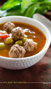 Pea soup with meatballs | giverecipe.com | #pea #soup #meatballs