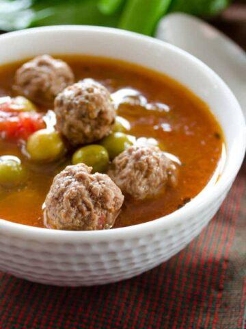 Pea soup with meatballs | giverecipe.com | #pea #soup #meatballs