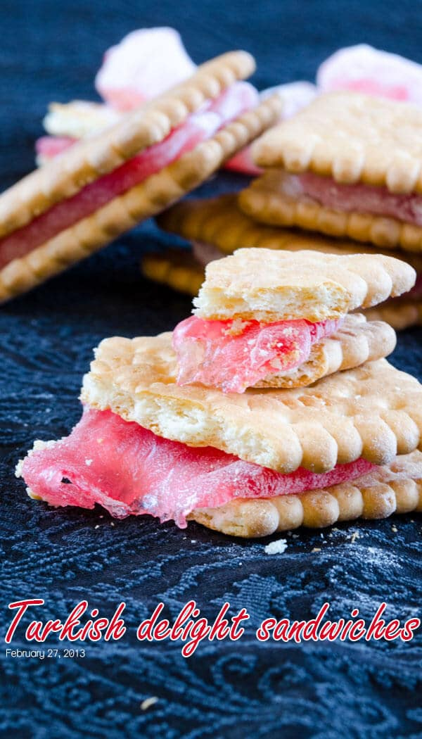 Turkish Delight Sandwiches | giverecipe.com | #turkishdelight #biscuit #snack #sandwich