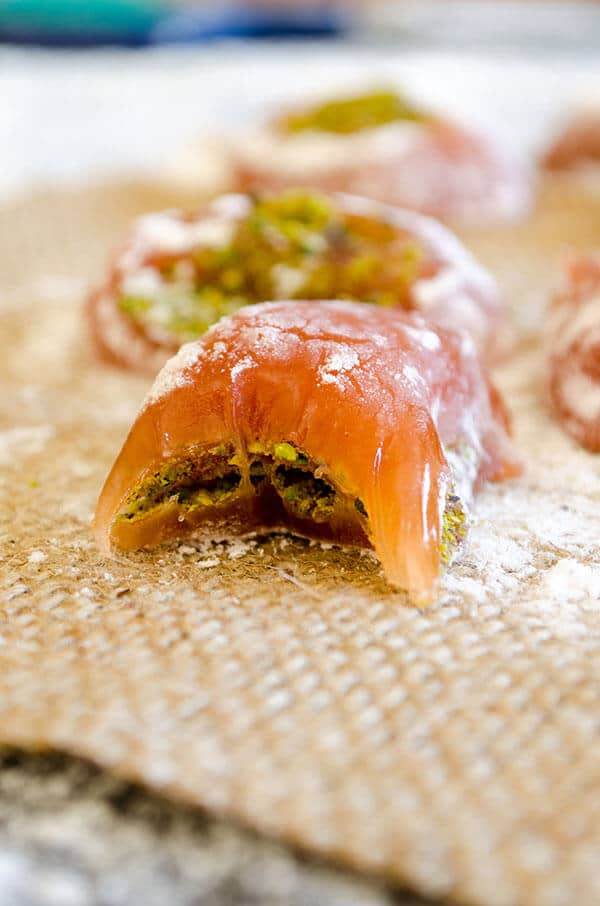 Homemade Turkish Delight stuffed with pistachio