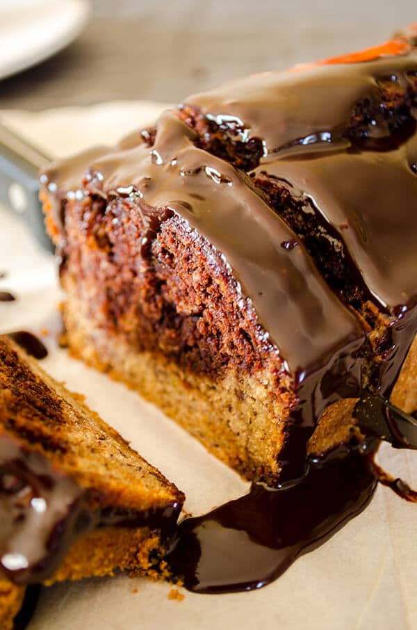 Marbled Banana Bread | giverecipe.com | #banana #cake #chocolate