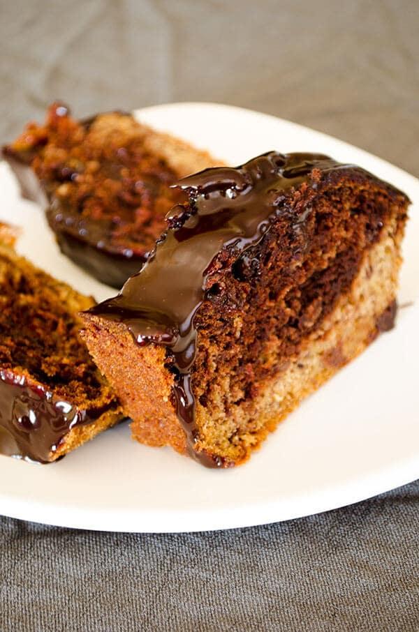 Marbled Banana Bread | giverecipe.com | #banana #cake #chocolate