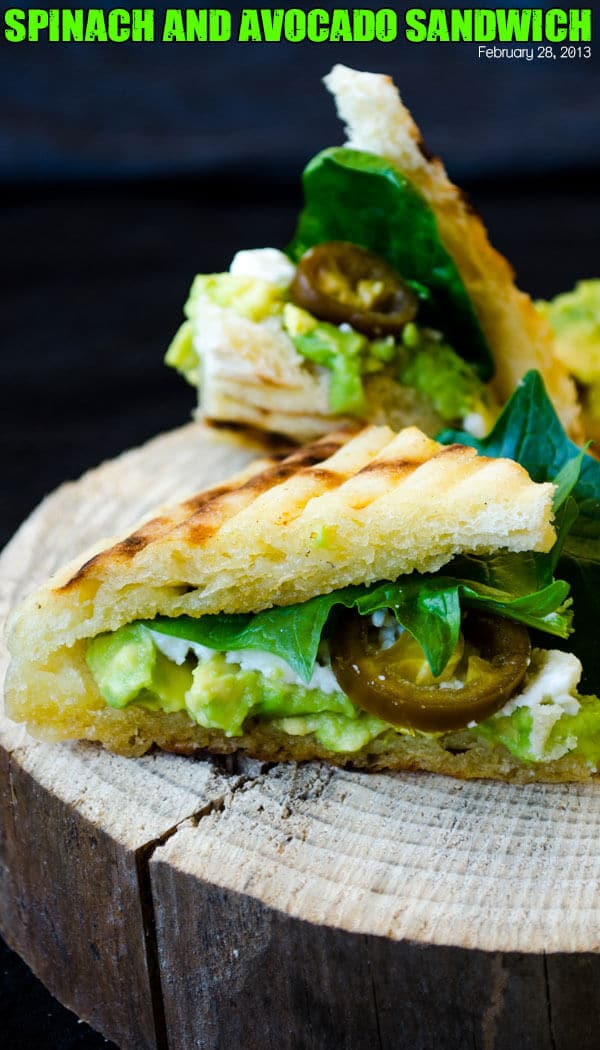 Spinach and avocado sandwich | giverecipe.com | #avocado #healthy #spinach #sandwich