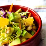 Tangy Brussels Sprout Salad | giverecipe.com | #brusselssprout #salad #orange #tangy #healthy #avocado #redcabbage