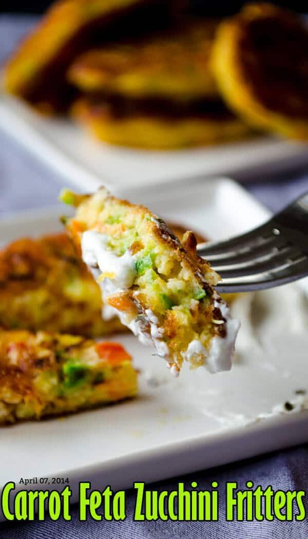 Carrot Feta Zucchini Fritters | giverecipe.com | #fritters #zucchini #carrot #feta #appetizer