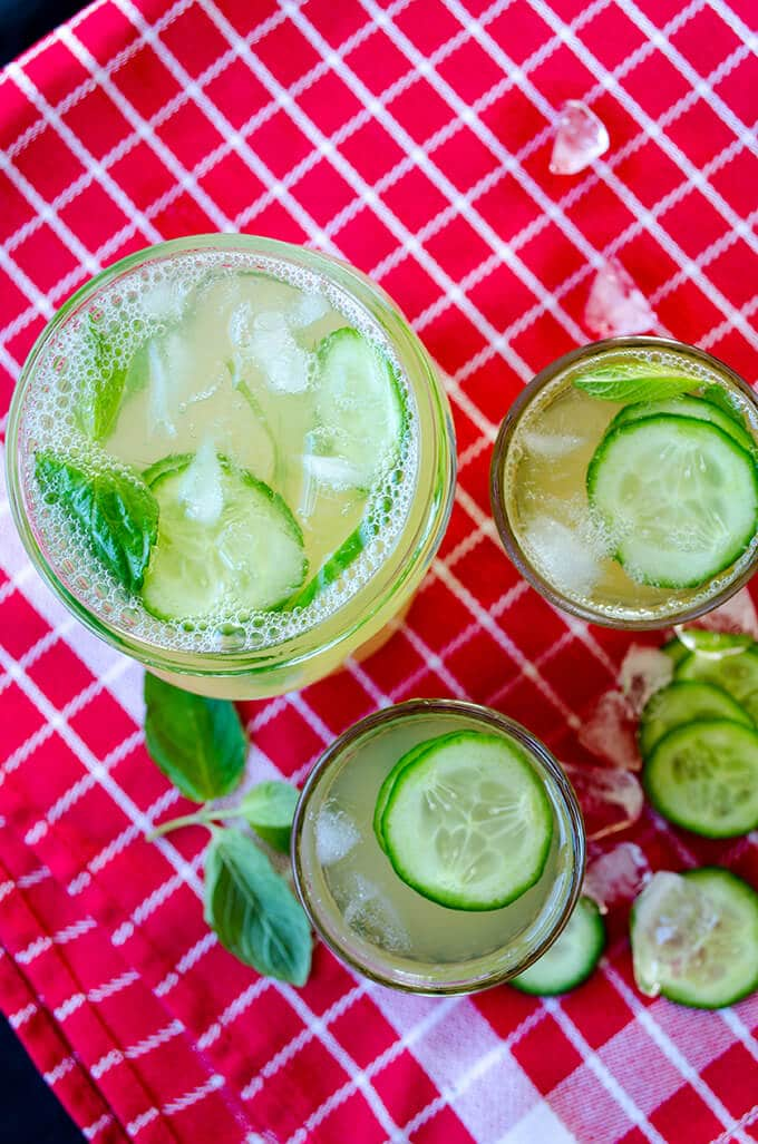 Fresh cucumber mint lemonade in glasses