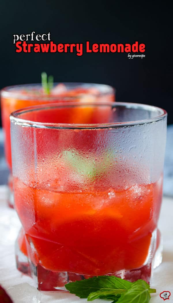 Perfect Strawberry Lemonade | giverecipe.com | #strawberry #lemonade #drink #summer
