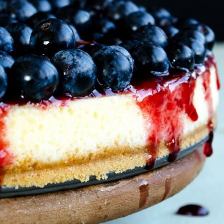Blueberry Cheesecake Lighter Version | giverecipe.com | #cheesecake #blueberries #dessert #cake #berries
