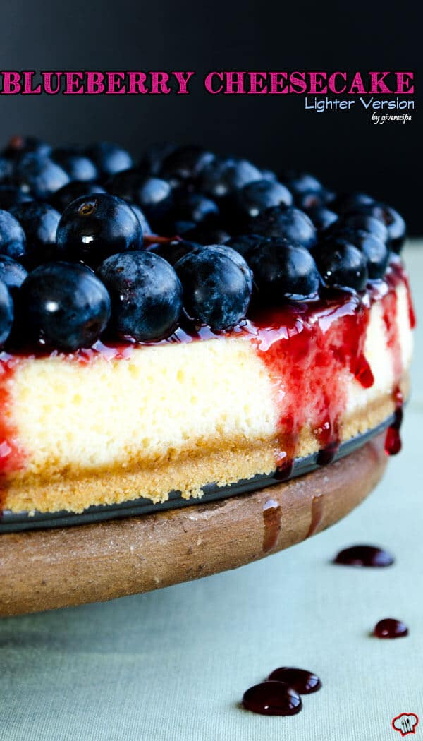 Blueberry Cheesecake Lighter Version | giverecipe.com | #cheesecake #blueberries #dessert #cake #berries