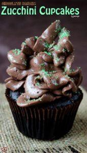 Chocolate Banana Zucchini Cupcakes | giverecipe.com | #cupcakes #dessert #zucchini #banana #frosting #chocolate