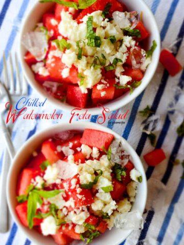 Chilled Watermelon Feta Salad | giverecipe.com | #watermelon #salad #feta #summer #summerrecipes #watermelonsalad