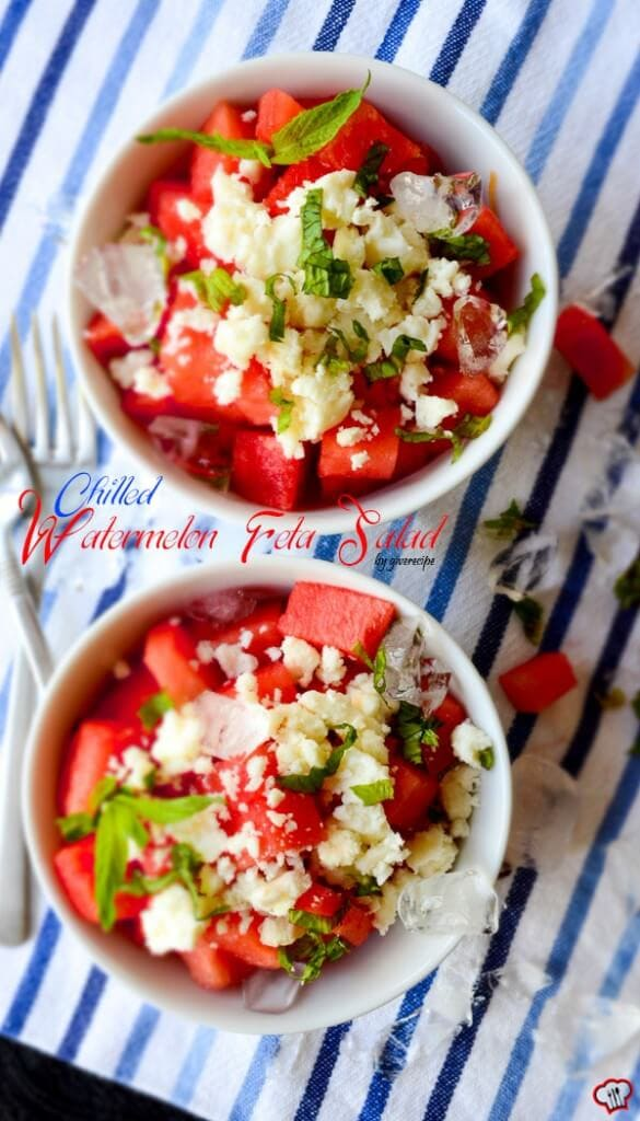 Chilled Watermelon Feta Salad | giverecipe.com | #watermelon #salad #feta #summer #summerrecipes #watermelonsalad