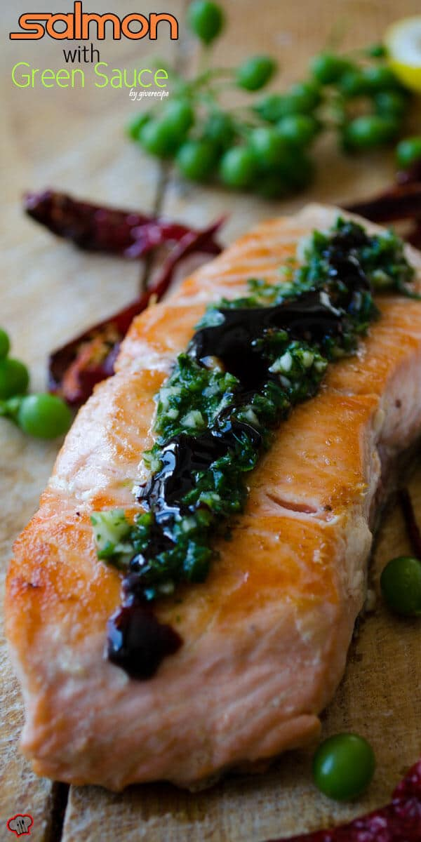 Pan-Fried Salmon with Green Sauce | giverecipe.com | #salmonrecipes #greensauce #healthyrecipes #seafood #fishrecipes