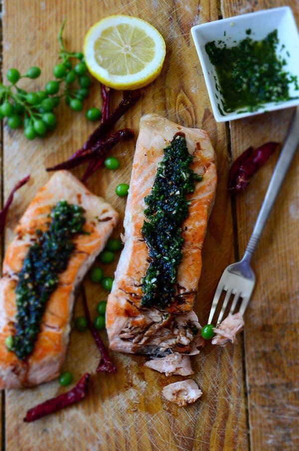 Pan-Fried Salmon with Green Sauce | giverecipe.com | #salmonrecipes #greensauce #healthyrecipes #seafood #fishrecipes
