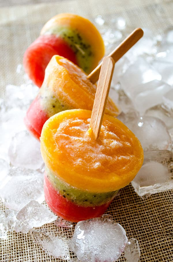 Peach Kiwi Watermelon Pops | giverecipe.com | #pops #popsicles #summerrecipes #watermelon #peach