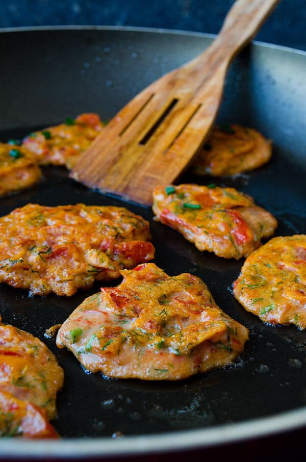 tomato and feta fritters