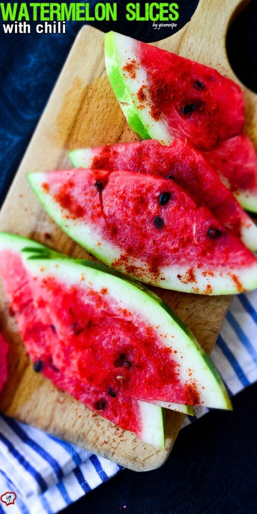 Watermelon Slices with Chili | giverecipe.com | #watermelonrecipes #chili #summerrecipes #easyrecipes #healthysnack