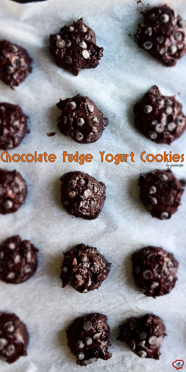 Chocolate Fudge Yogurt Cookies | giverecipe.com | #chocolate #greekyogurt #cookies