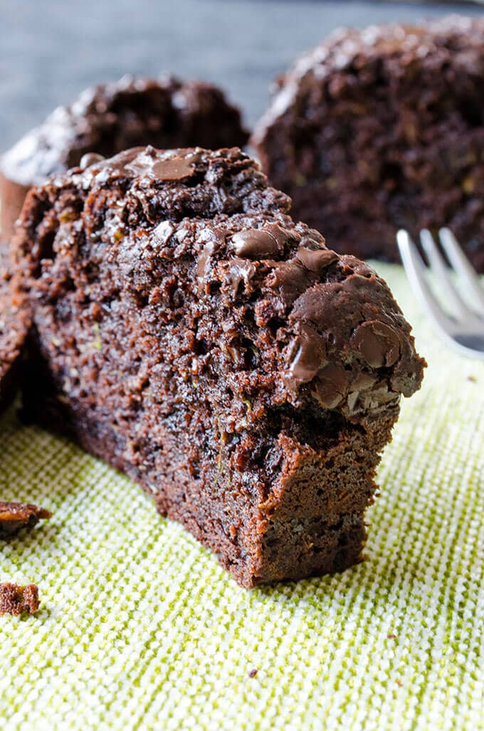 Slices of chocolate zucchini bread